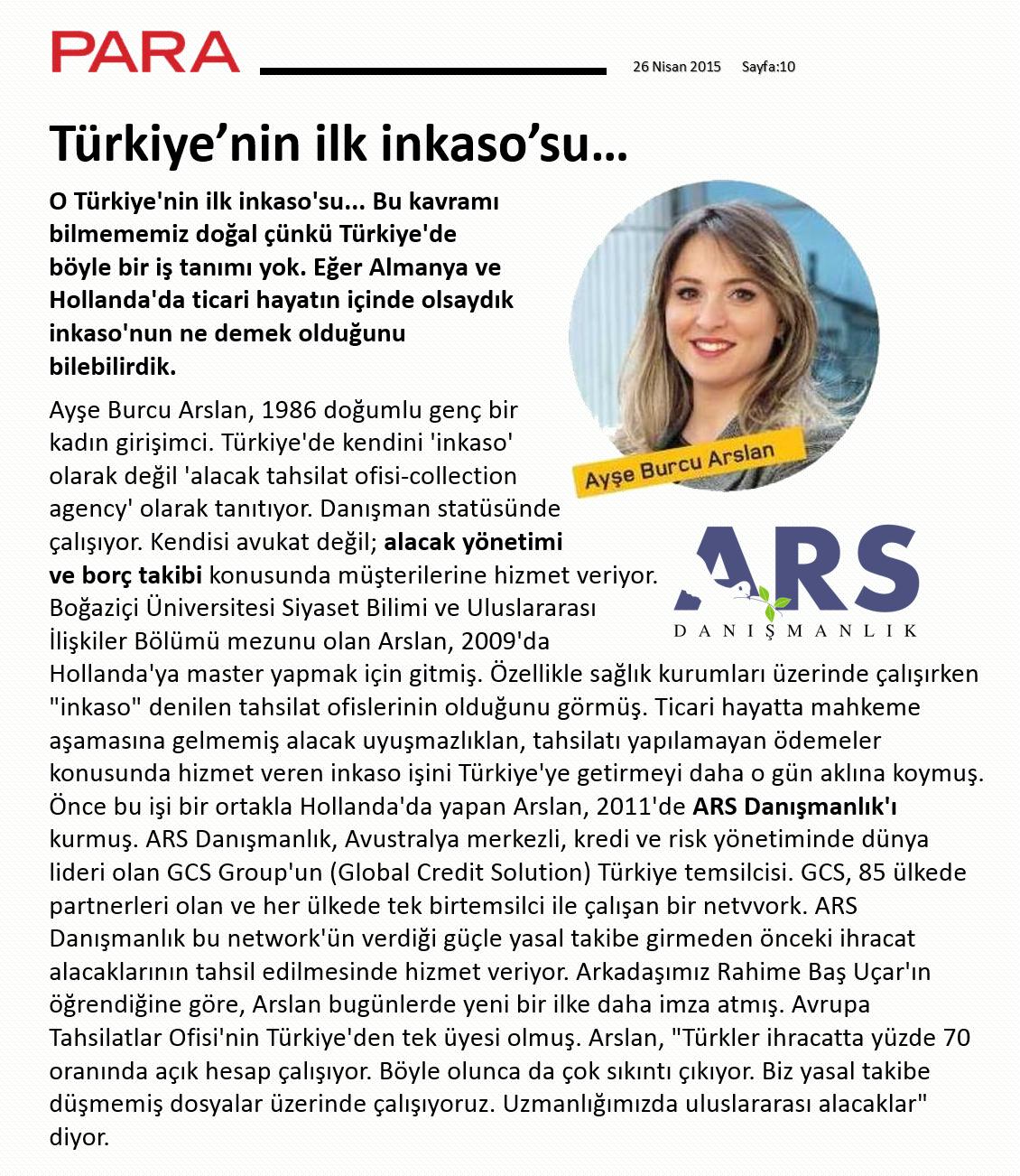 ARS DANIŞMANLIK - PARA DERGİSİ